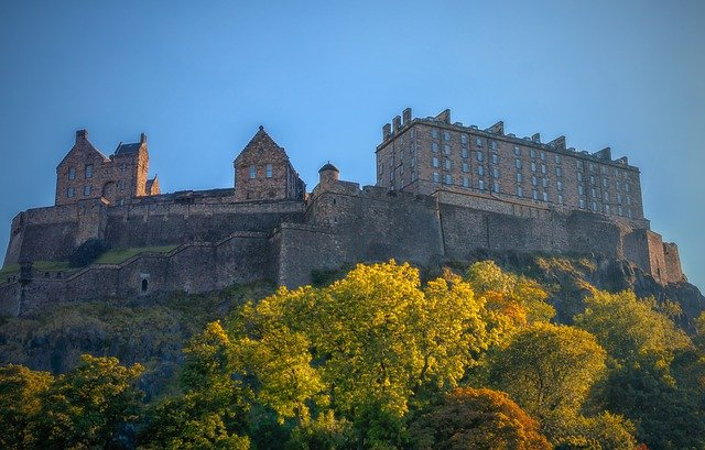 Edinburgh castle from lower down the hill.