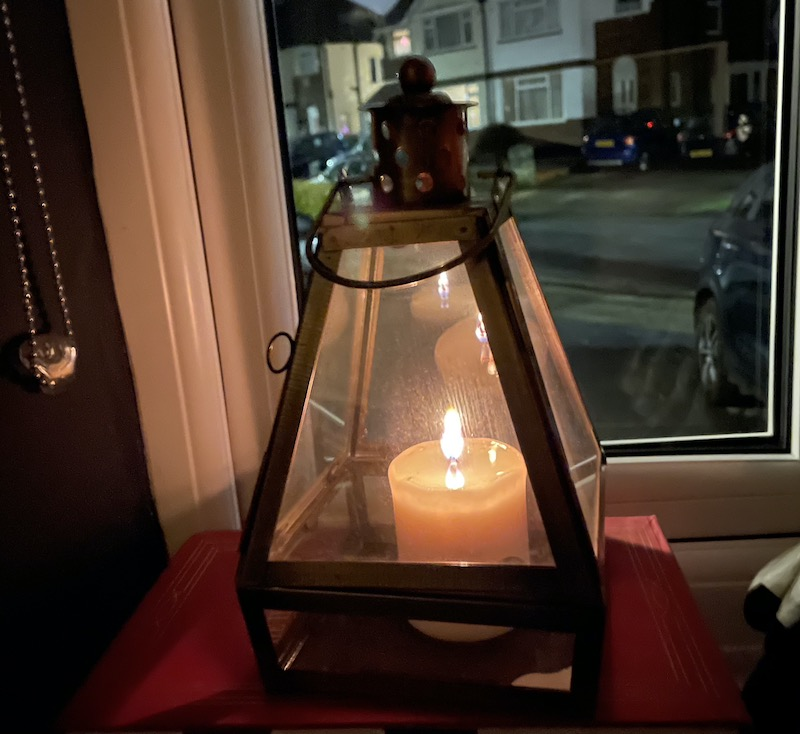 A candle in the window.