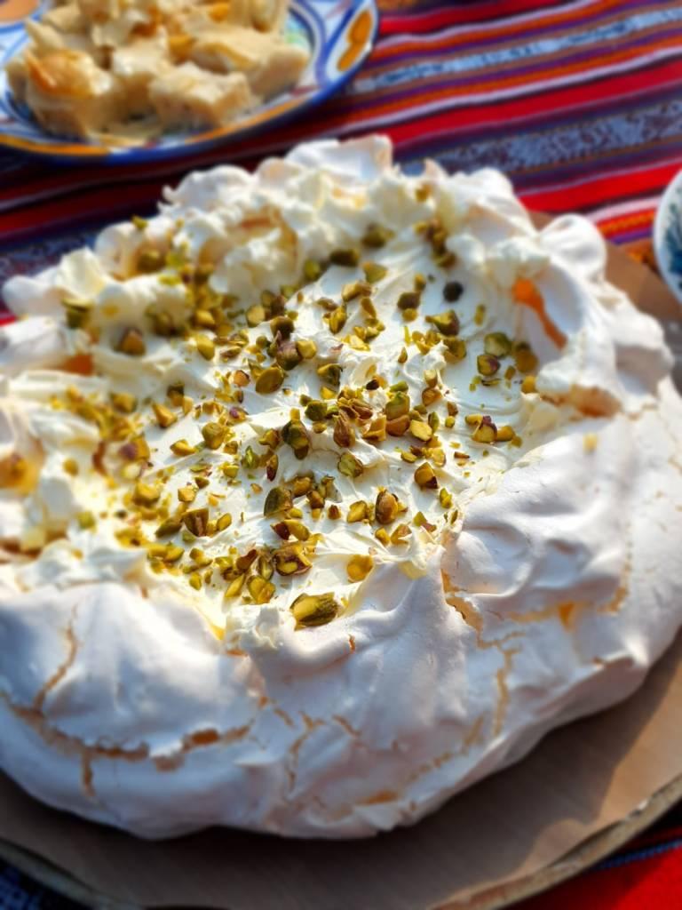 A lemon curd pavlova with pistachios
