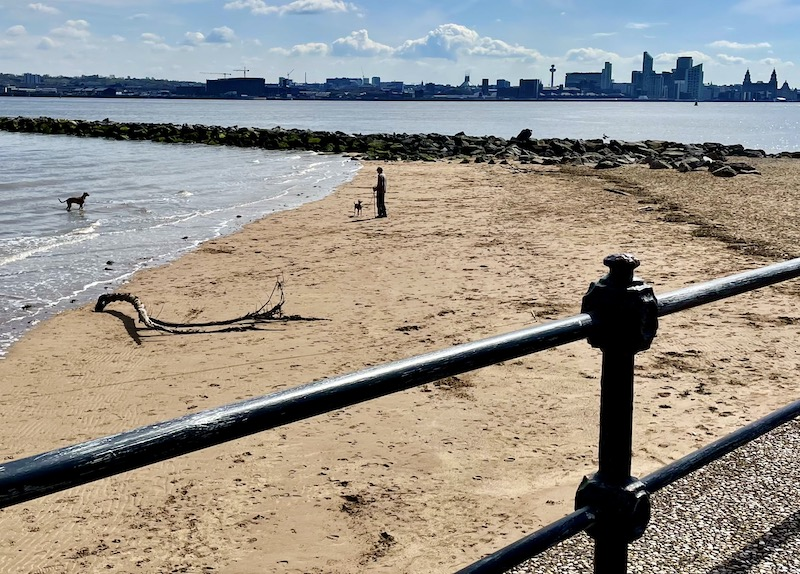 A corner of the beach with river Mersey behind and Liverpool skyline in the distance
