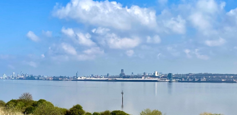 A view of the Liverpool skyline from the Riverpark