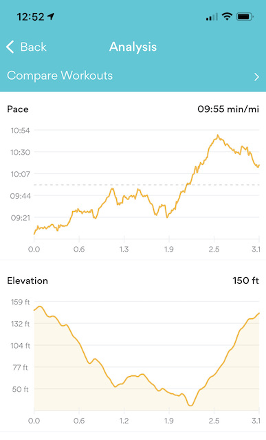 Running App Pace and Elevation for second Run