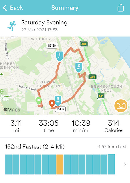 Running App stats for first 5K 33.05 time, 10.39 min/miles