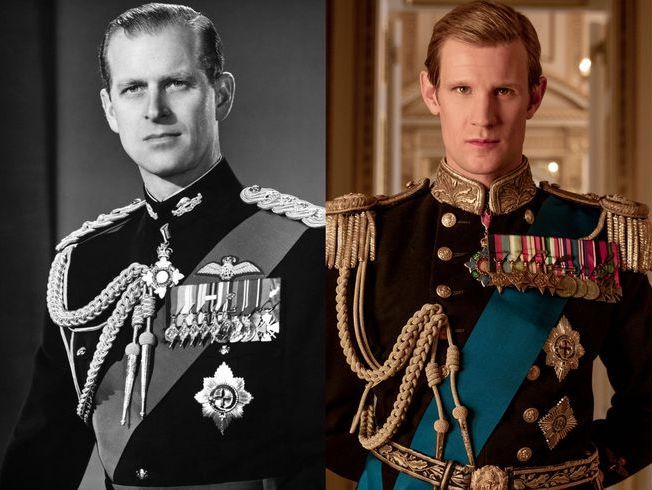 Prince Philip, in black and white, next to Matt Smith, in colour, wearing a similar uniform.