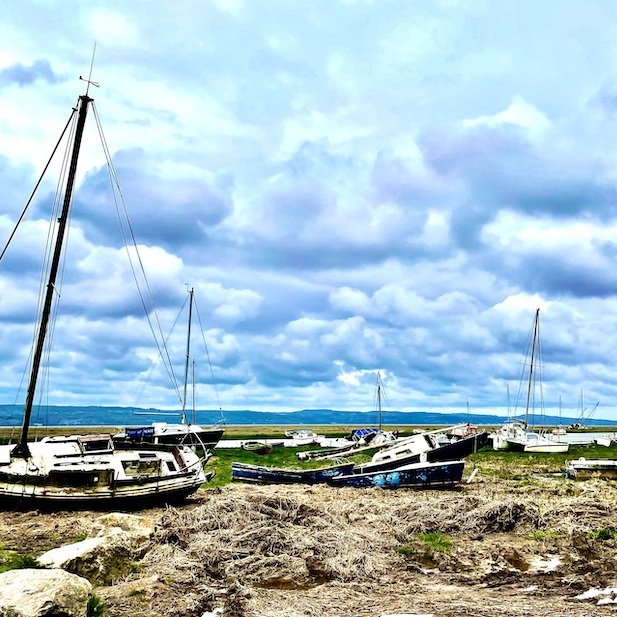 Abandoned boats on the shore