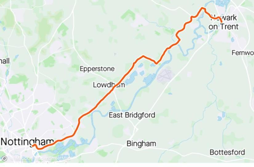 Map from Newark to Nottingham