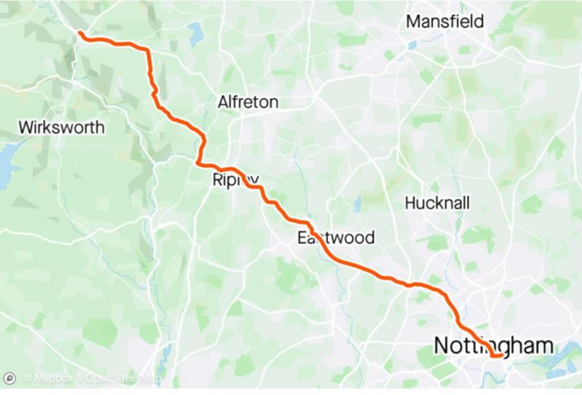 Map of route from Nottingham to Matlock