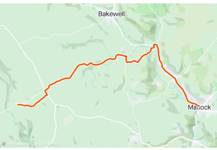 Map of route from Matlock to Hartington