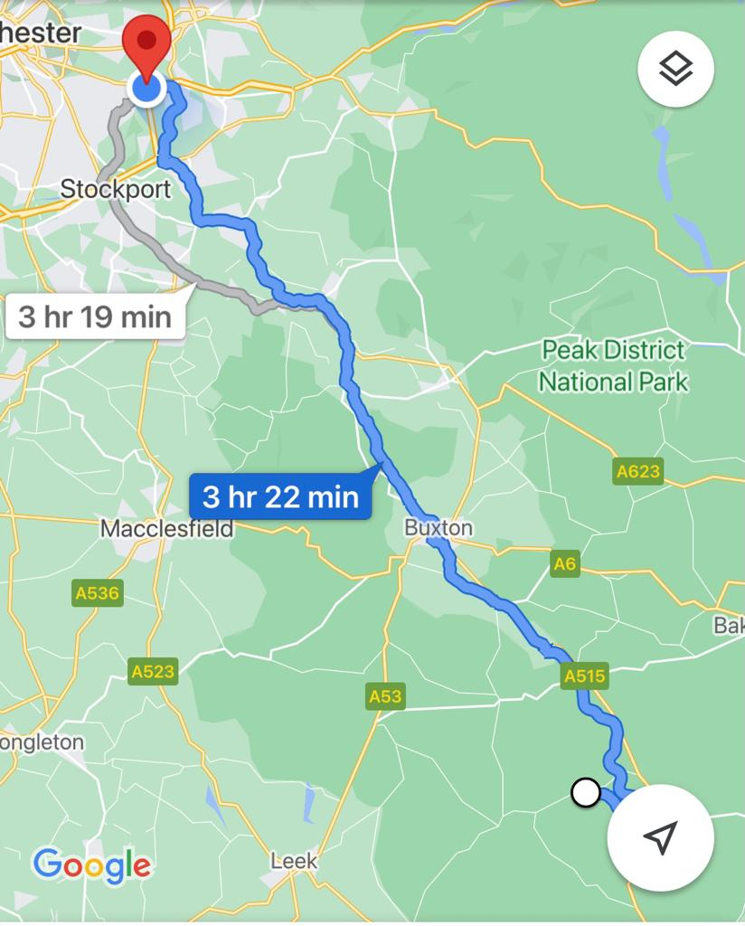 Rough map of our route from Hartington Hall to Denton