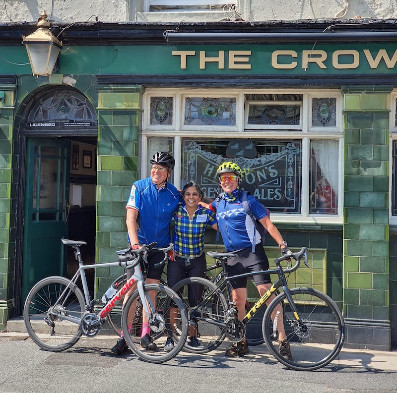 The three of us in front of the Crow's Nest pub.