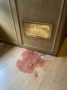 A 'blood stain' on the floor where David Rizzio was murdered.